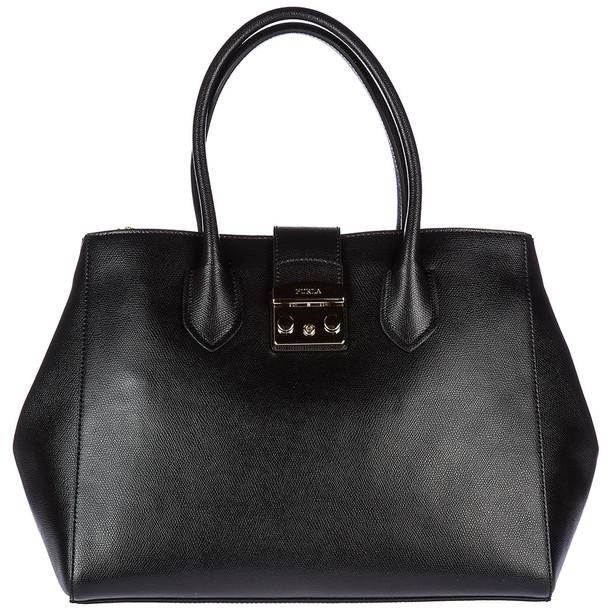 Furla Leather Handbag Shopping Bag Purse in nero