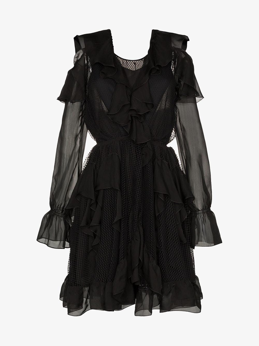 Faith Connexion cold-shoulder ruffle silk cotton blend mini dress in black