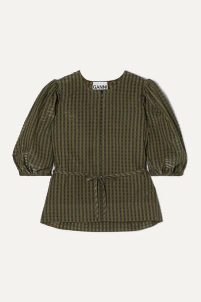 GANNI - Belted Metallic Checked Seersucker Blouse - Army green