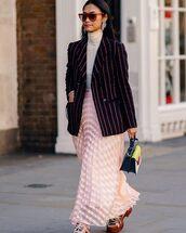 skirt,pleated skirt,midi skirt,pink skirt,sneakers,handbag,black blazer,stripes,white turtleneck top,sunglasses