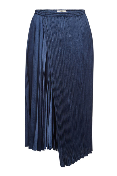 Vince Asymmetric Pleated Skirt  in blue