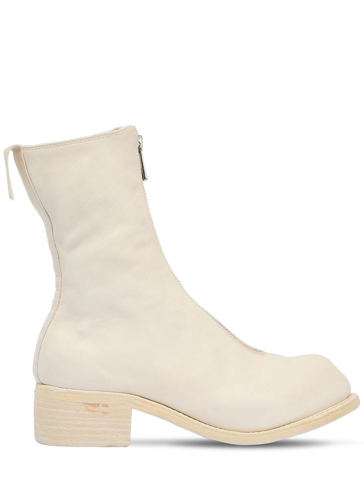 GUIDI 40mm Zip-up Full Grain Leather Boots in white