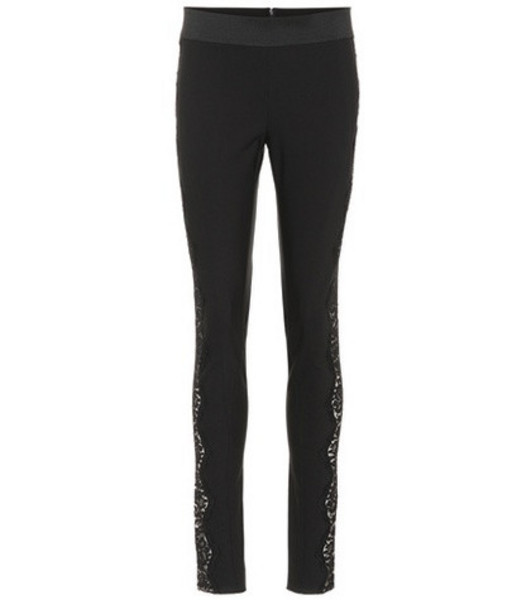 Stella McCartney Lace-trimmed skinny pants in black
