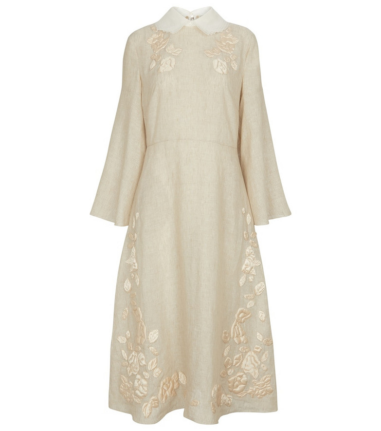 Fendi Embroidered linen and silk midi dress in white