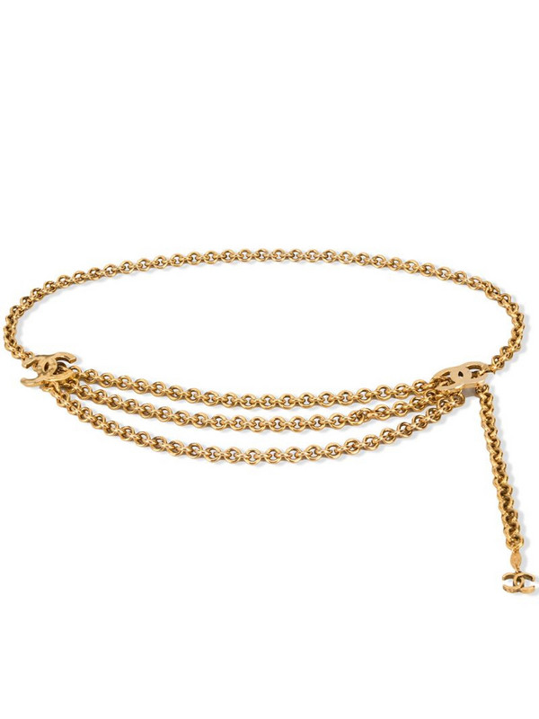 Chanel Pre-Owned CC quilted charm chain belt in gold