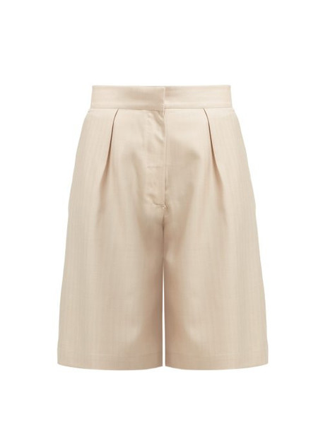 Giuliva Heritage Collection - The Stella Wool And Silk Blend Shorts - Womens - Beige