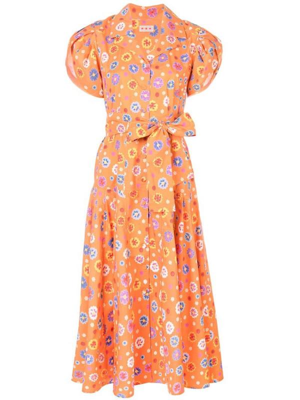 Lhd floral print midi dress in orange