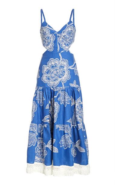 Alexis Narella Cutout Linen Dress in blue