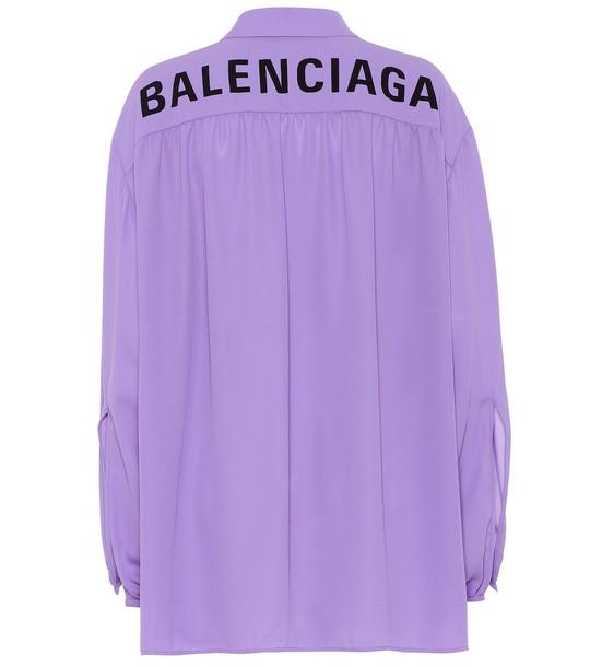 Balenciaga Scarf crêpe shirt in purple