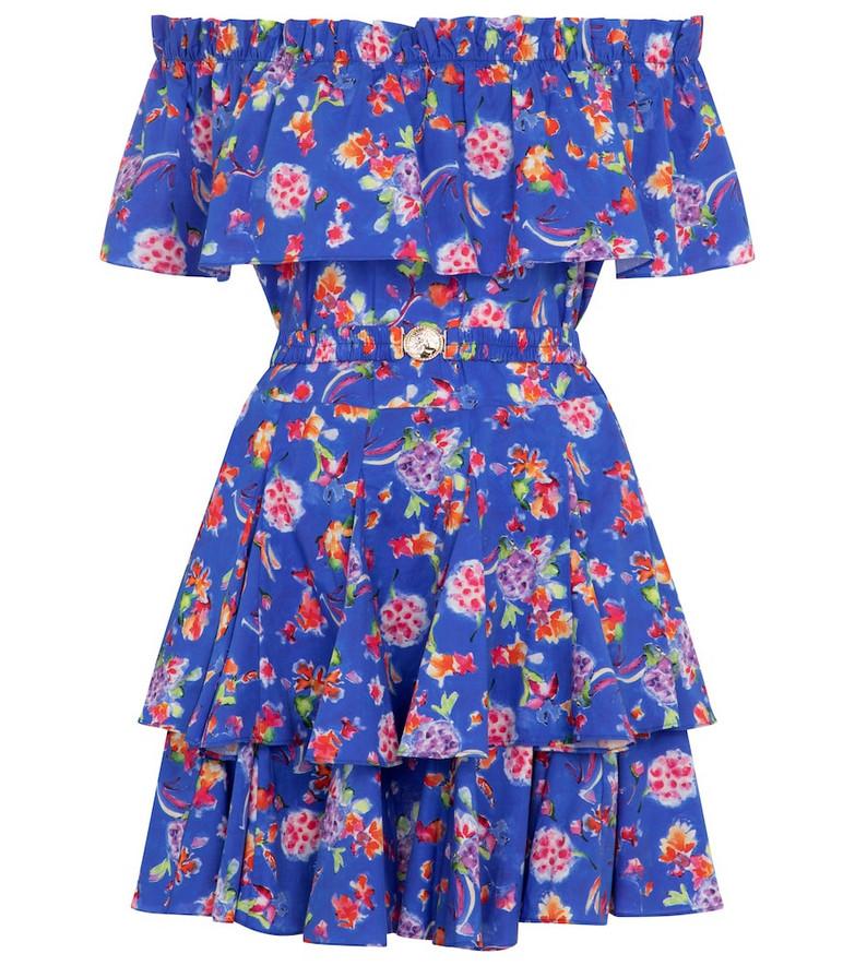 Caroline Constas Serena floral cotton-blend minidress in blue