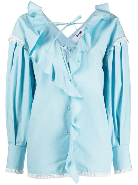 MSGM ruffle-front blouse in blue