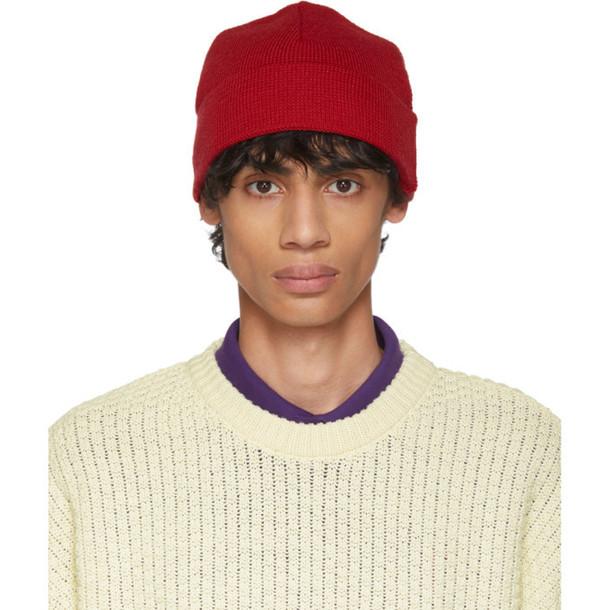 AMI Alexandre Mattiussi Red Wool Beanie