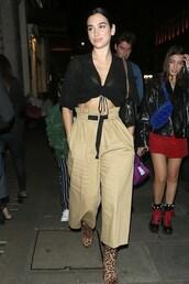 pants,wide-leg pants,dua lipa,celebrity,top
