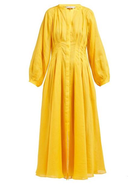 Three Graces London - Valeraine Pleated Ramie Dress - Womens - Yellow
