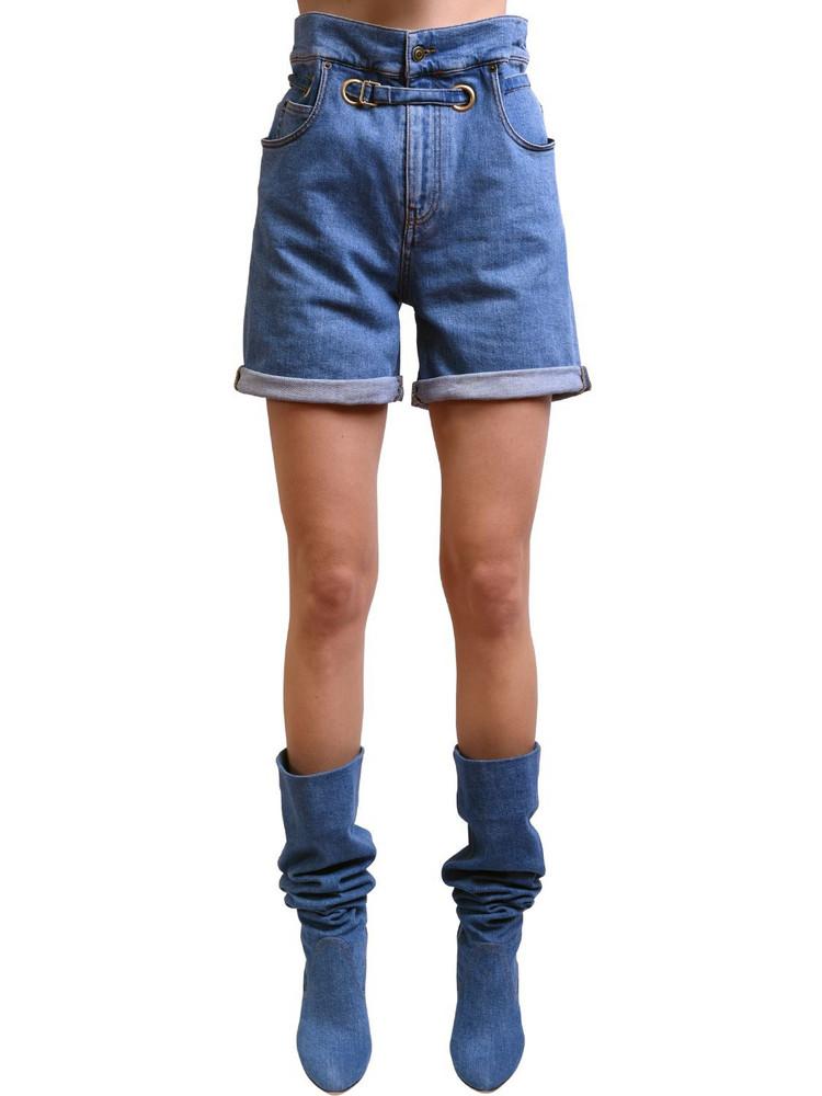 PHILOSOPHY DI LORENZO SERAFINI Belted Cotton Denim Shorts in blue