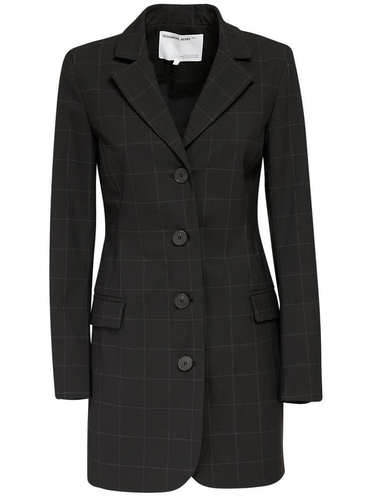 DESIGNERS REMIX Aja Wool Blend Crepe Mini Blazer Dress in black
