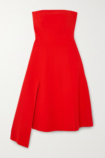A.W.A.K.E. MODE - Strapless Asymmetric Cady Dress - Red