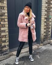 coat,faux fur coat,pink coat,converse,leather pants,turtleneck sweater,black sweater,knit,hat