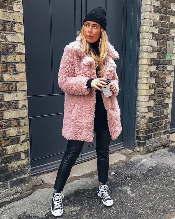 coat faux fur coat pink coat converse leather pants turtleneck sweater black sweater knit hat