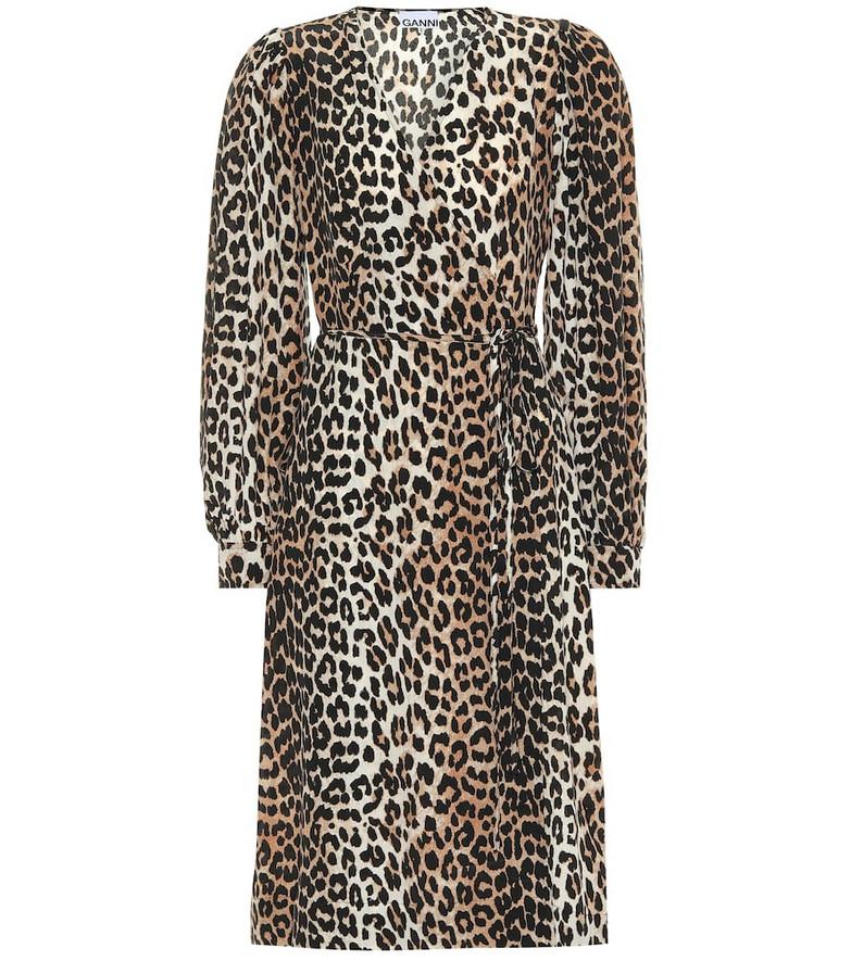 Ganni Leopard-printed silk-blend dress in beige