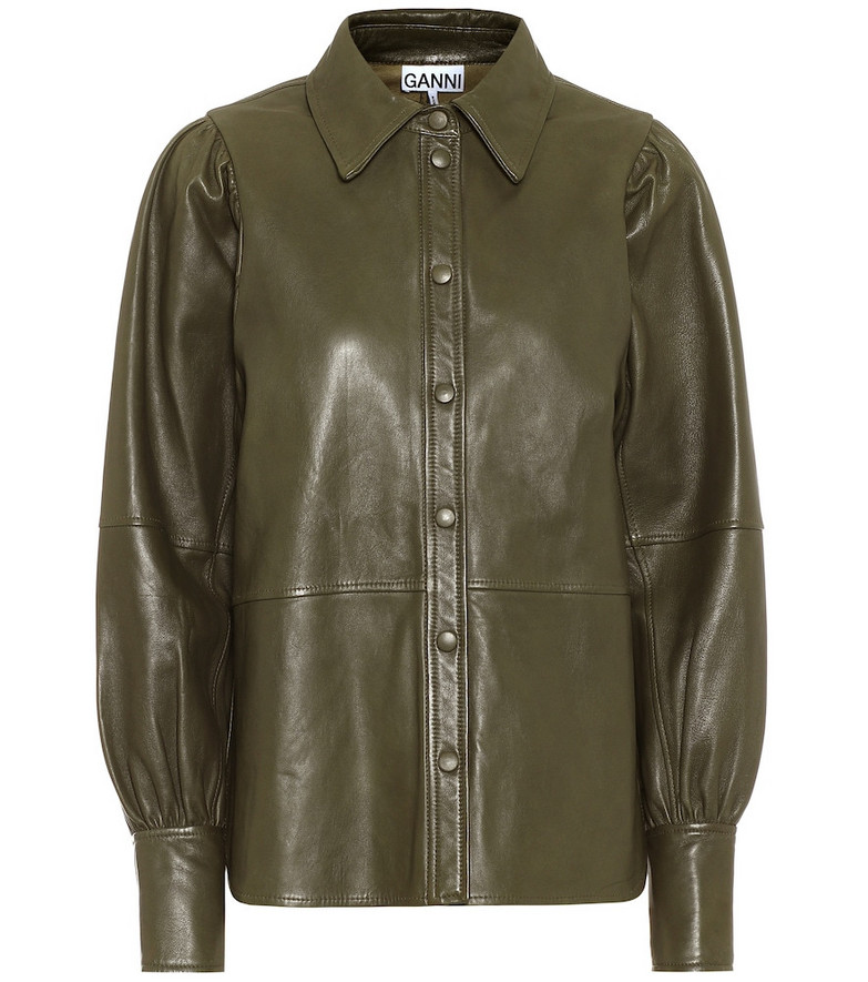 Ganni Leather shirt in green