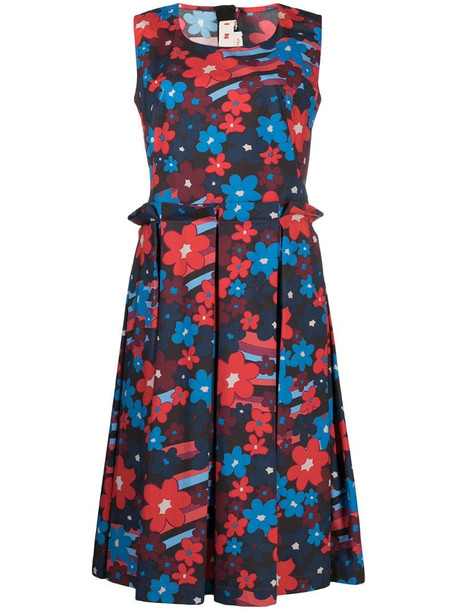 Marni floral-print cotton dress in red