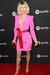 dress,plunge dress,pink,pink dress,julianne hough,celebrity