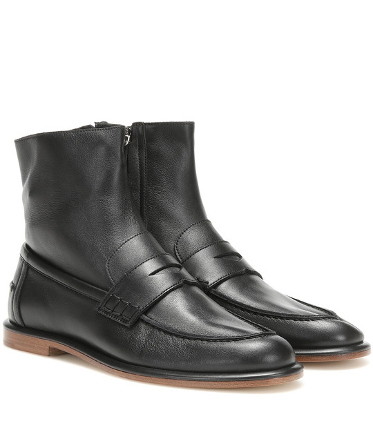Loewe Leather loafer ankle boots in black