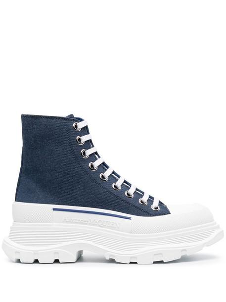Alexander McQueen platform denim sneakers in blue