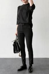 top,streetstyle,streetwear,black,formal,urban,dark,sweater,jumper,turtleneck,three-quarter sleeves