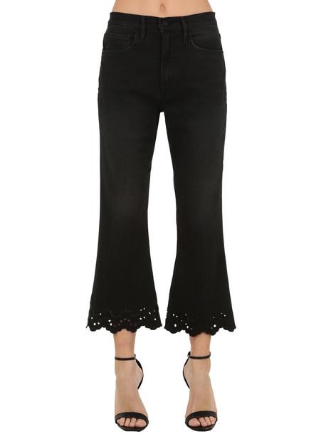 FRAME Flared Cotton Blend Denim Jeans in black