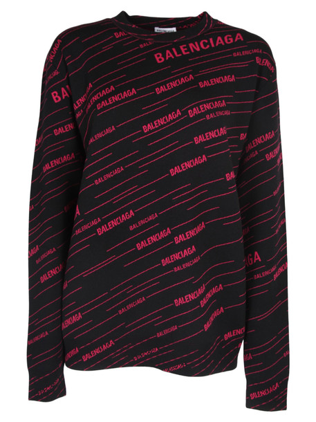 Balenciaga Pullover Stampa Logo in black / fuchsia
