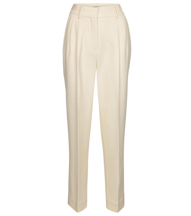 Blazé Milano Banker high-rise wide-leg wool pants in white