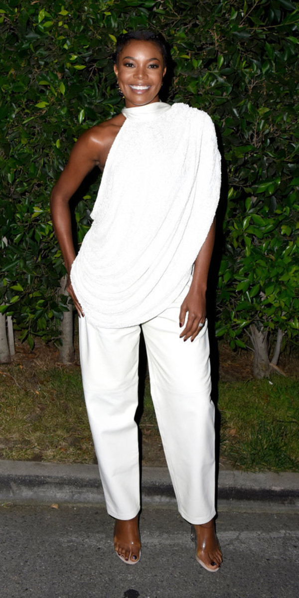 top all white everything gabrielle union celebrity pants asymmetrical