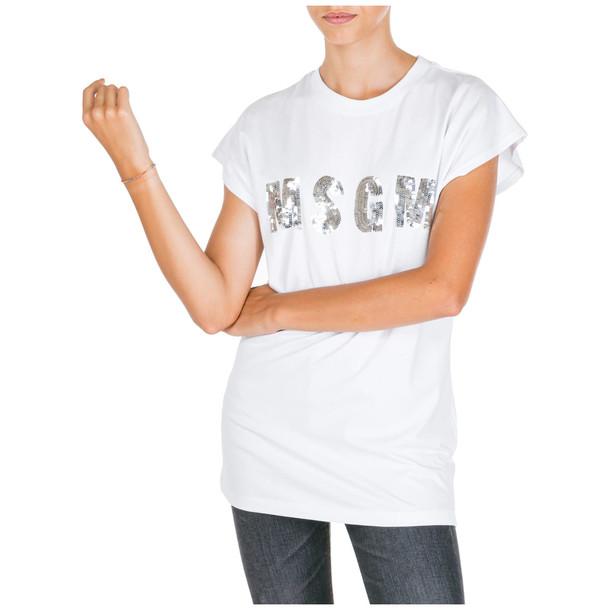 MSGM T-shirt Short Sleeve Crew Neck Round in bianco