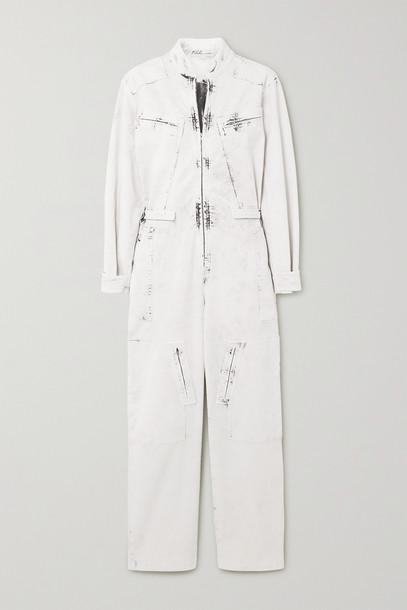 STELLA MCCARTNEY - Zip-embellished Acid-wash Denim Jumpsuit - Cream
