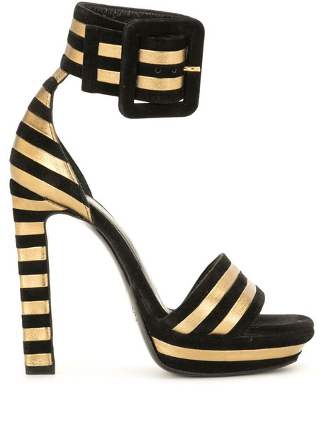 Yves Saint Laurent Pre-Owned striped platform heel sandals in black