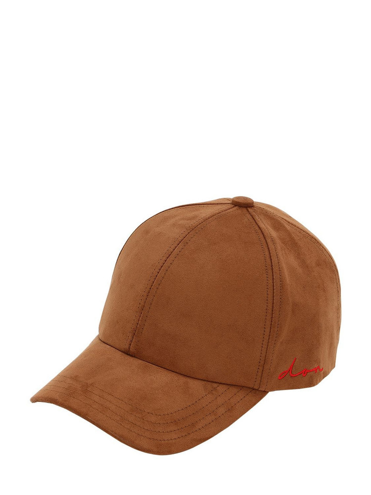 DON Embossed Logo Faux Suede Baseball Hat in camel