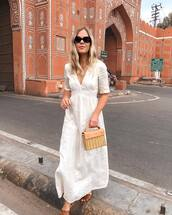 dress,white dress,bag,handbag,wood,maxi dress,flat sandals,v neck dress