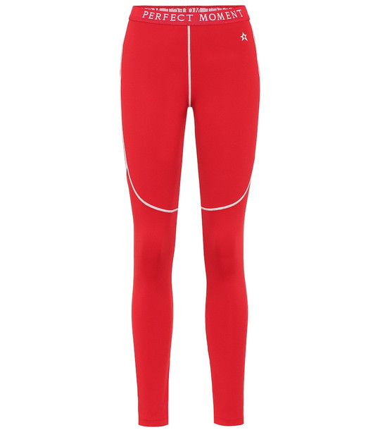 Perfect Moment High-rise thermal leggings in red