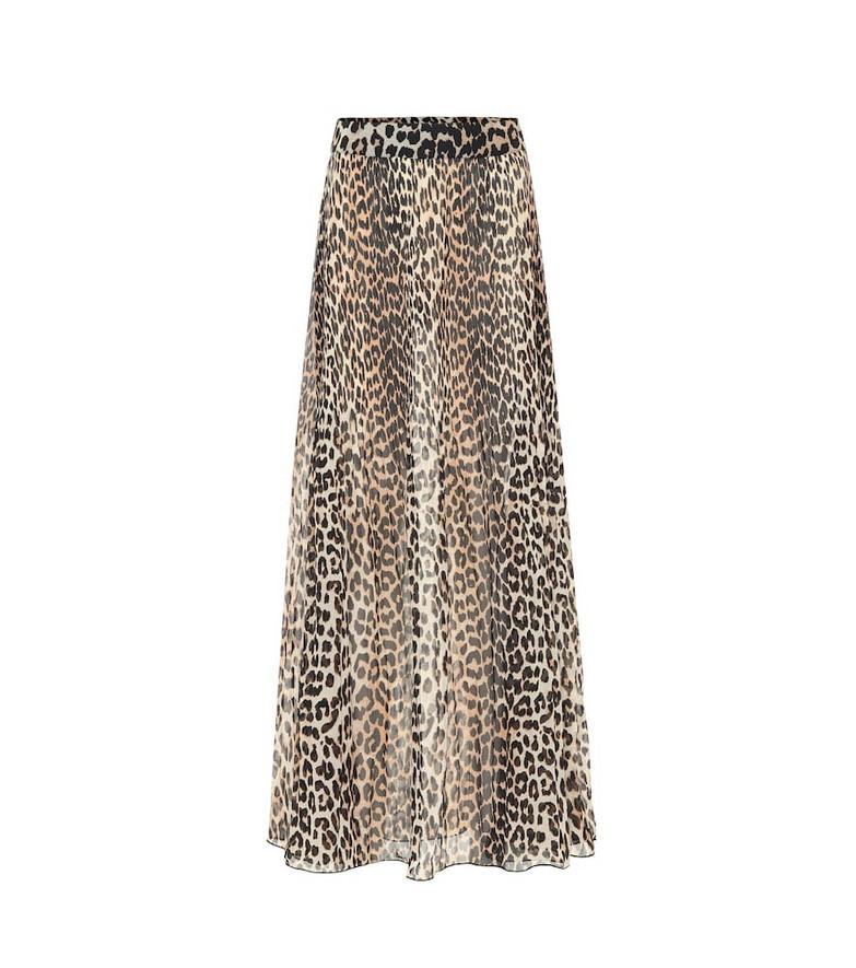 Ganni Leopard-print maxi skirt in brown