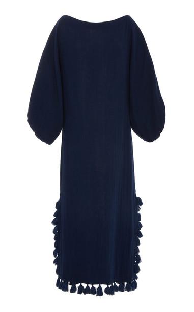 Rhode Resort Delilah Cotton-Gauze Maxi Dress in navy