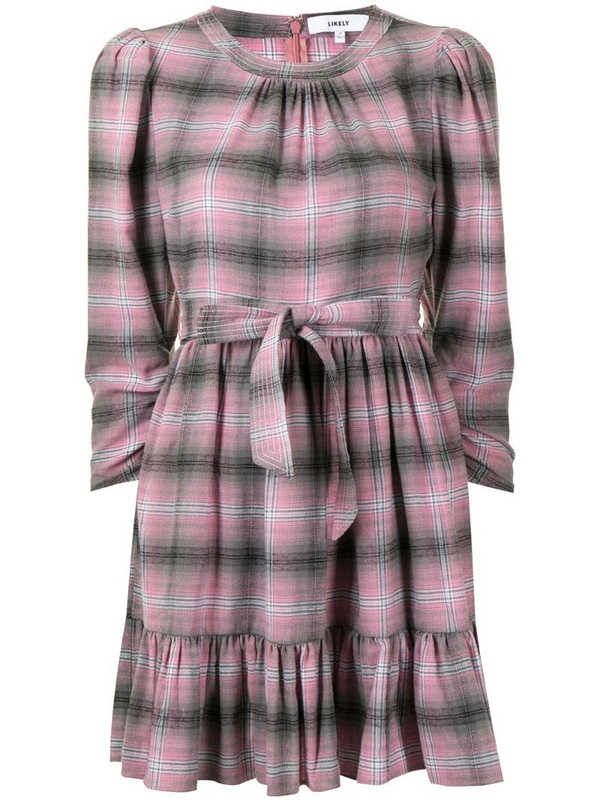 Likely plaid shirt dress in pink