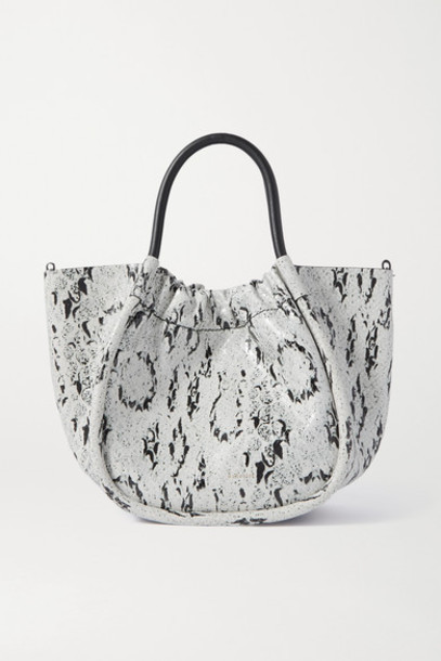 Proenza Schouler - Small Ruched Snake-effect Leather Tote - White