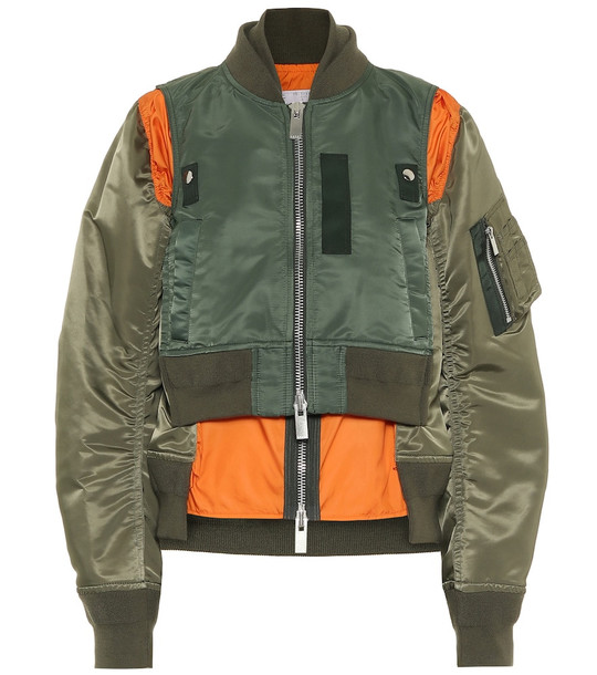 Sacai Nylon bomber jacket in green