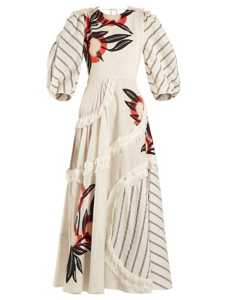 Roksanda - Kayine Floral Print Linen Blend Dress - Womens - White Stripe