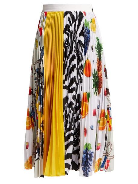 Msgm - Fruit Print Pleated Crepe Midi Skirt - Womens - Multi