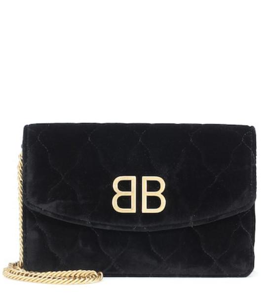 Balenciaga BB velvet clutch in black