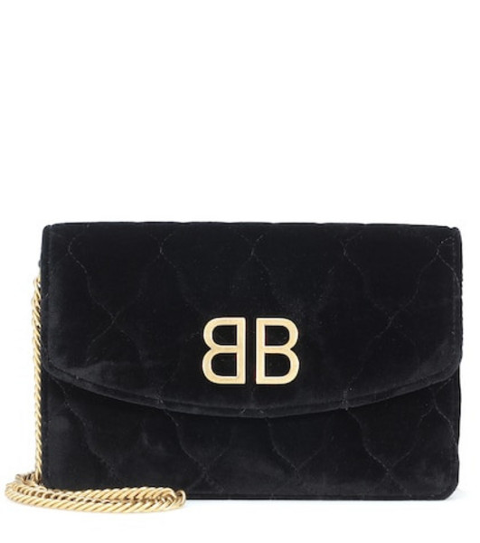 Balenciaga BB velvet clutch in black