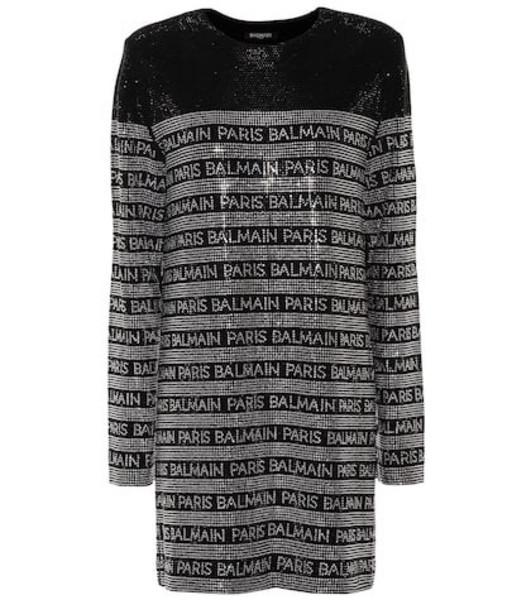 Balmain Crystal-embellished minidress in black